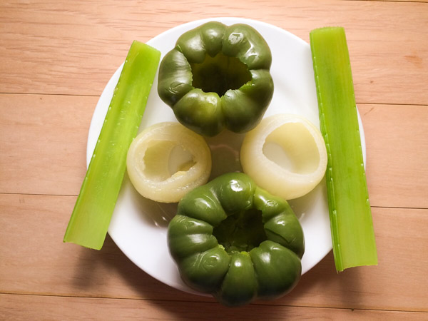 the holy trinity of onions, bell pepper and celery
