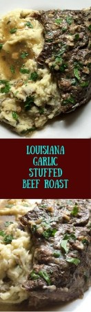 Experience an authentic Cajun-style beloved main dish with this Louisiana garlic stuffed beef roast https://asprinklingofcayenne.com/louisiana-garlic-stuffed-beef-roast/