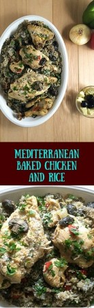 Mediterranean Baked Chicken and Rice from https://asprinklingofcayenne.com/mediterranean-baked-chicken-and-rice/