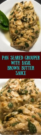 Gluten free and Paleo, this Pan Seared Grouper With Basil Brown Butter Sauce takes just 15 minutes to make. http://asprinklingofcayenne.com