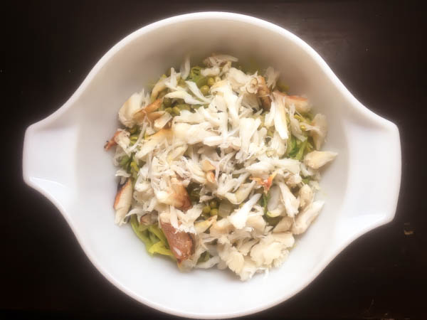 Crab and pea zoodle salad ingredients. | http://asprinklingofcayenne.com