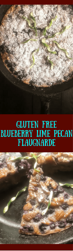 This gluten free blueberry lime pecan flaugnarde is an easy dessert recipe that you can use to jazz up a weeknight or make the weekend more memorable. Easily grain free and Paleo adaptable, this south Louisiana spin on the classic French dessert is ready in about 45 minutes. https://asprinklingofcayenne.com