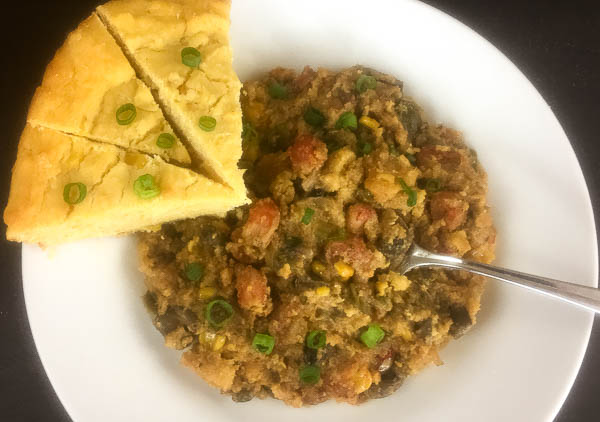 A plate of gluten free skillet cornbread and gluten free Cajun crawfish dressing from A Sprinkling of Cayenne. | http:asprinklingofcayenne.com