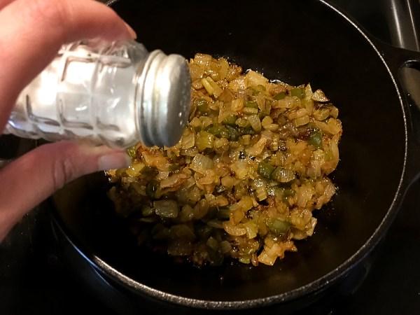 Sprinkling salt on the Trinity Roux™: A Grain Free, Paleo, and Gluten Free Roux. | http://asprinklingofcayenne.com