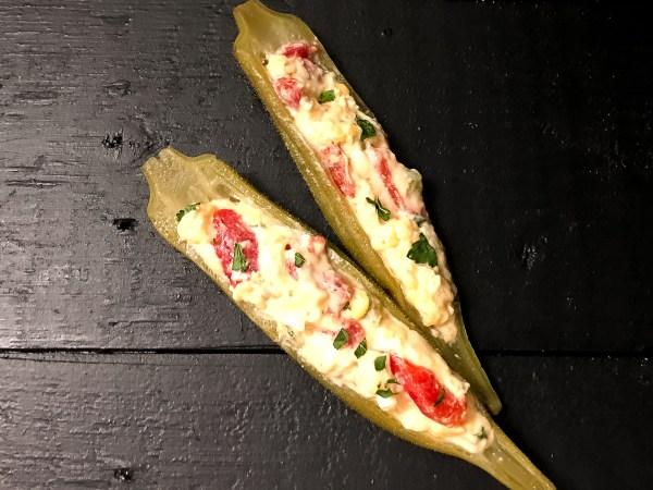 Cajun 'Caviar of the South' Pimento Cheese Stuffed Pickled Okra Halves
