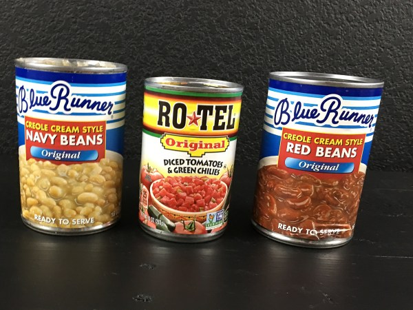 Blue Runner Creole Red & Navy 'White' Beans & Rotel Tomatoes & Green Chilies for Creole Red & White Bean Dip. | https://asprinklingofcayenne.com