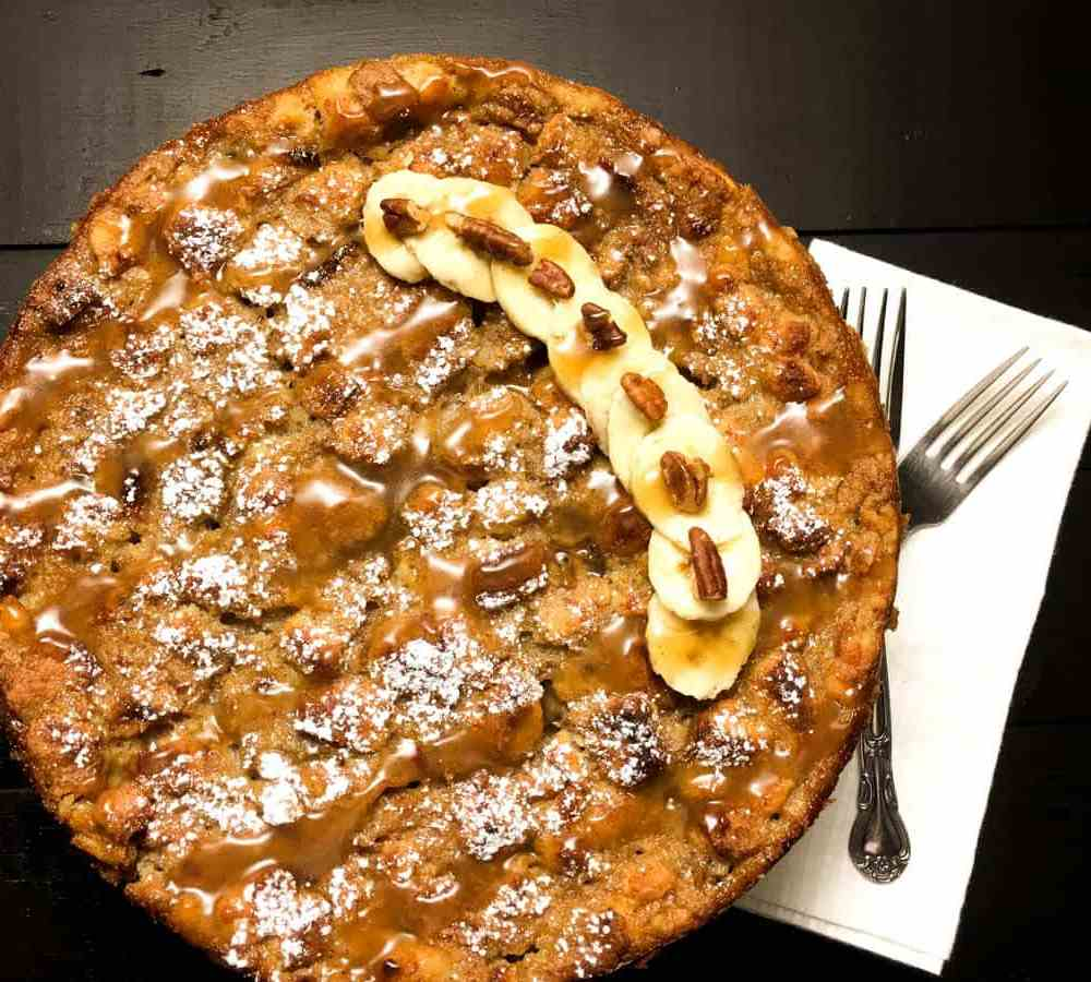 Gluten Free Bananas Foster Bread Pudding Cake. | https://asprinklingofcayenne.com
