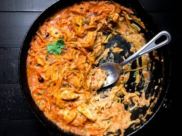 Gluten Free Ranch Salsa Chicken Pasta in a cast iron skillet. | https://asprinklingofcayenne.com