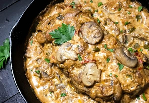 Close-up of Gluten Free Beef Stroganoff Skillet Meatloaf   http://asprinklingofcayenne.com