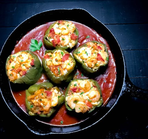 Square Paleo Creole Shrimp Stuffed Peppers with Cauliflower Rice. | https://asprinklingofcayenne.com