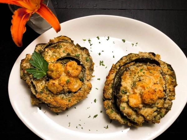 Gluten Free Shrimp Stuffed Artichokes from A Sprinkling of Cayenne. | https://asprinklingofcayenne.com/gluten-free-shrimp-stuffed-artichokes