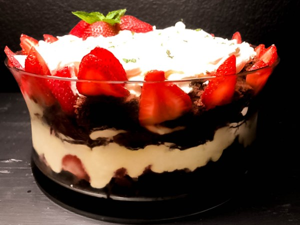 Side shot of Gluten Free Strawberry Mint Chocolate Trifle. | https://asprinklingofcayenne.com