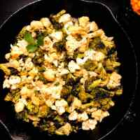 Skillet Roasted Broccoli and Cauliflower