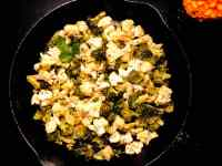 Black Iron Skillet Roasted Broccoli and Cauliflower.