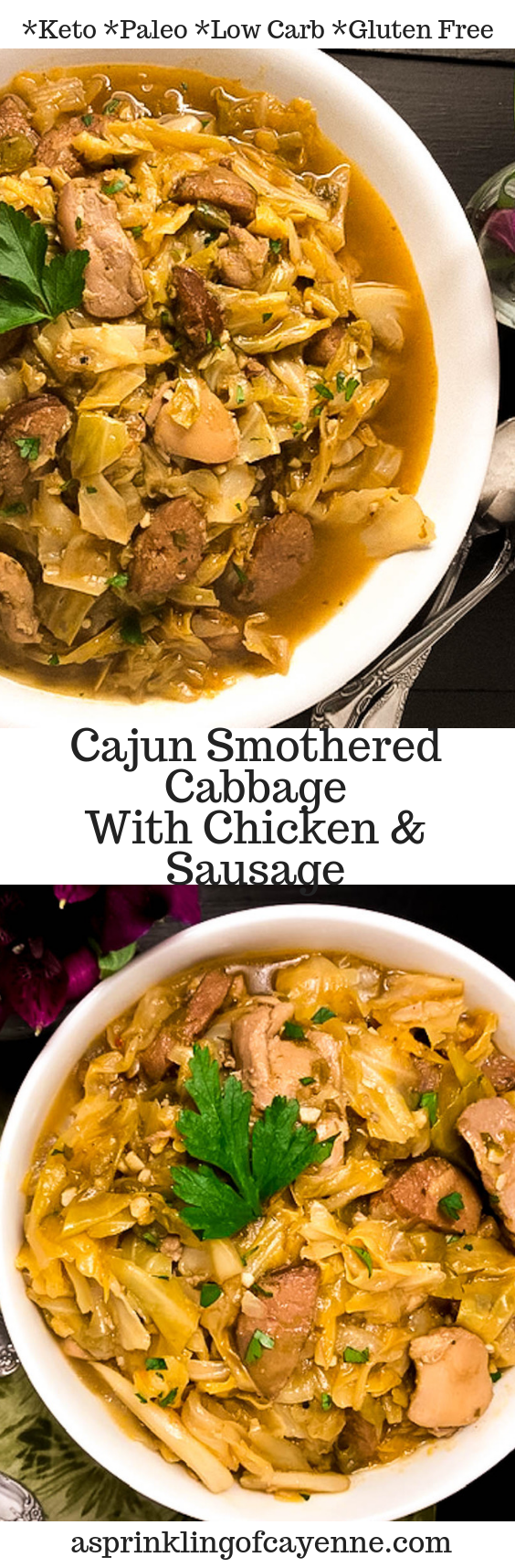 Cajun Smothered Cabbage with Chicken & Sausage Pinterest Pin | https://asprinklingofcayenne.com
