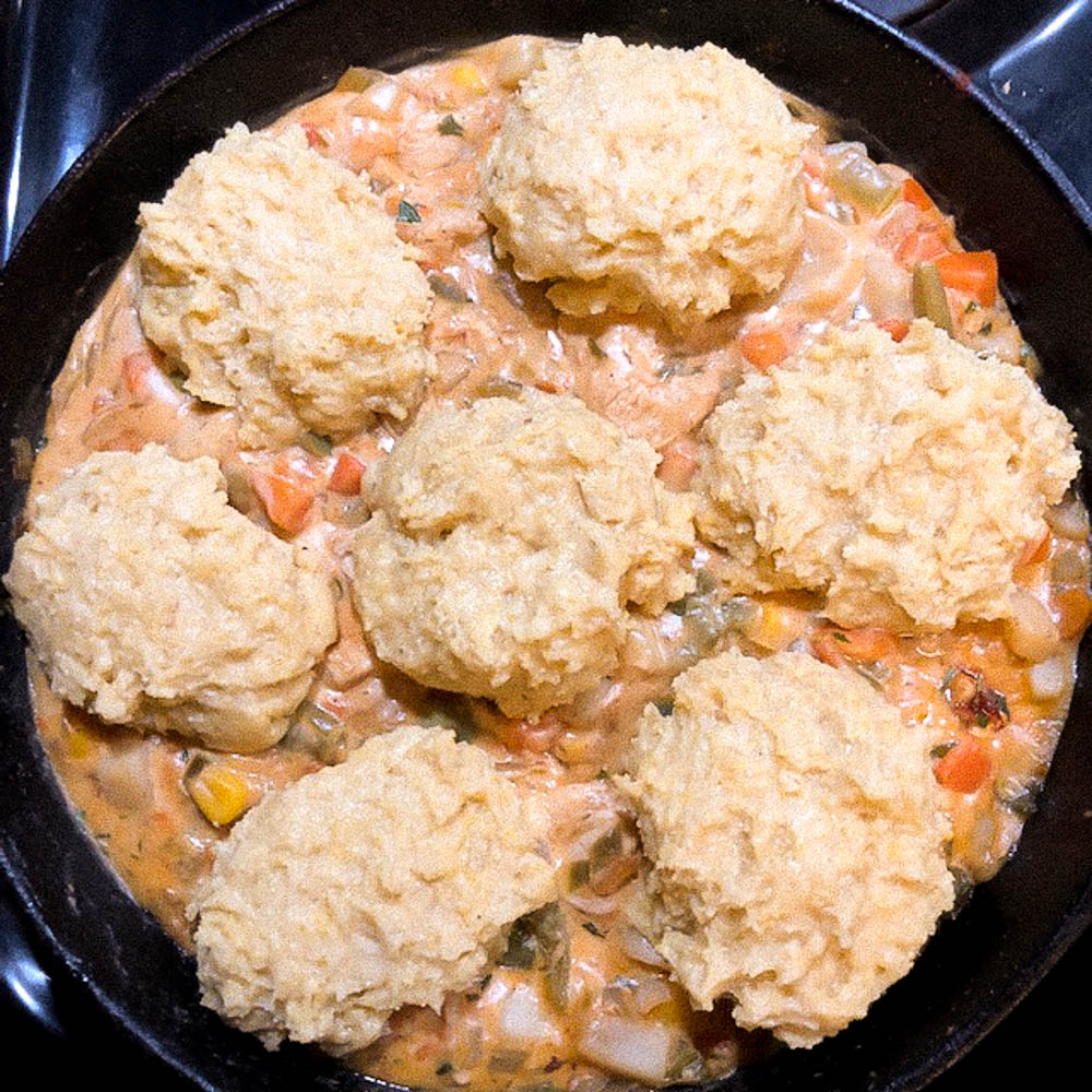 The final step before baking the Cornbread Biscuit Topped Gluten Free Chicken Pot Pie.