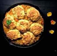 Cornbread Biscuit Topped Gluten Free Chicken Pot Pie. | https://asprinklingofcayenne.com