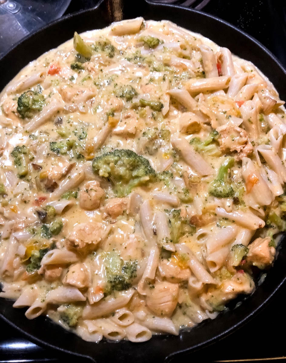 Best Ever Gluten Free Chicken Broccoli Pasta ready to go into the oven.