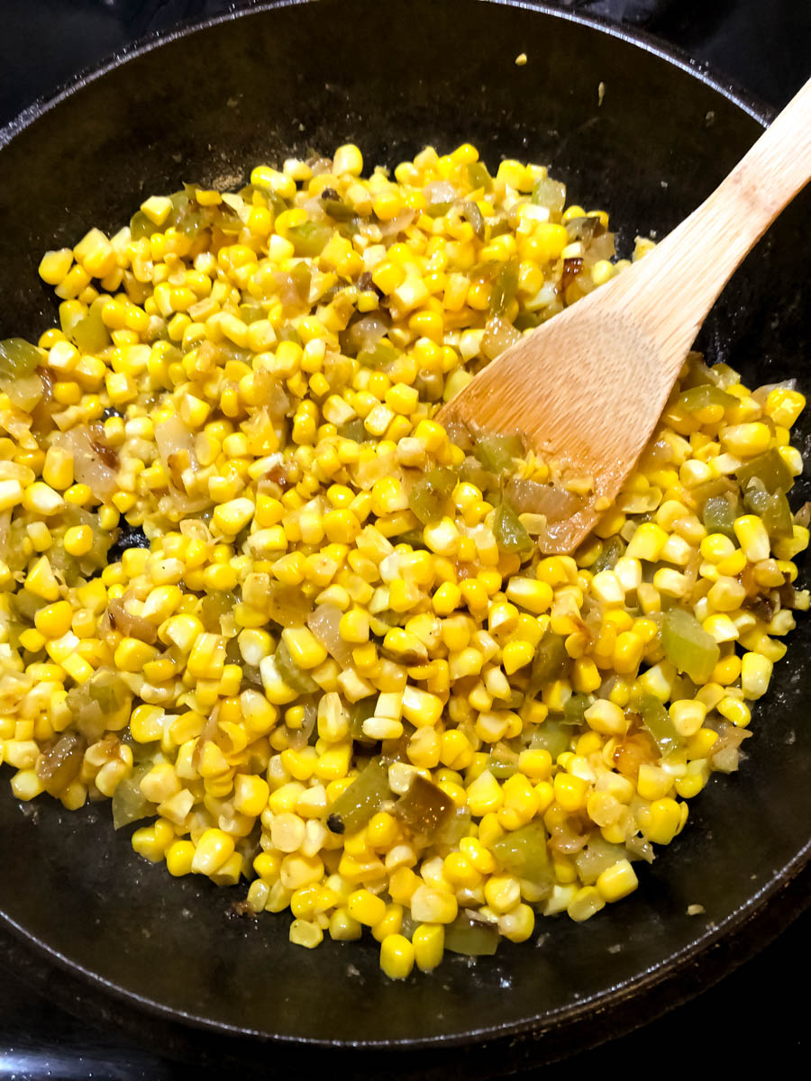 Spicy skillet corn maque choux base