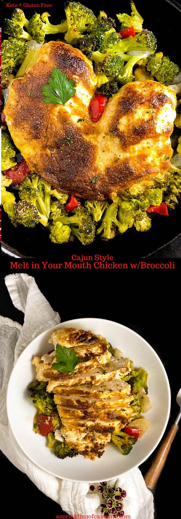 Keto Gluten Free Cajun Style Melt in Your Mouth Chicken with Broccoli Long Pin Long Pin