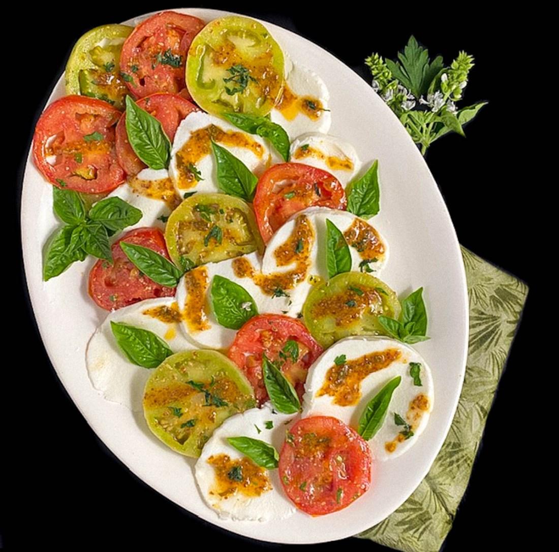 Square shot of Creole Caprese Salad