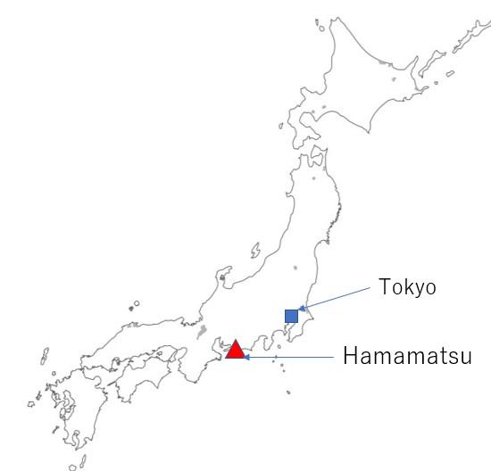map hamamatsu in Shizuoka Prefecture
