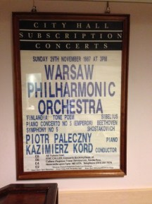 A classic poster on display in the Warsaw philharmonic hall where we rehearsed with Boris Berman. This one from a concert in Sandy's hometown.