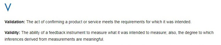 Validation definition, as provided by ASQ's Quality Glossary.