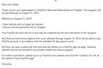 Bonus Referal Paypal Dihentikan