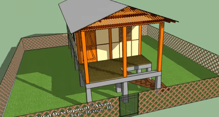 assam type house drawing