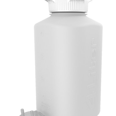"4L HDPE Heavy Duty Vacuum Bottle, with ¼"" Hose Barb Adapter"