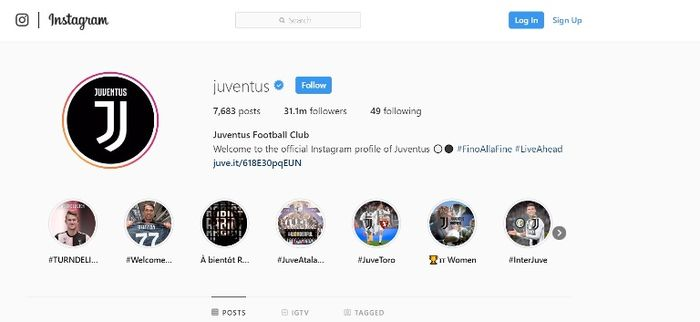 Jumlah follower di Instagram Juventus.
