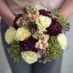 White And Burgundy Hand Tied Bridal Bouquet By A Garden Floral