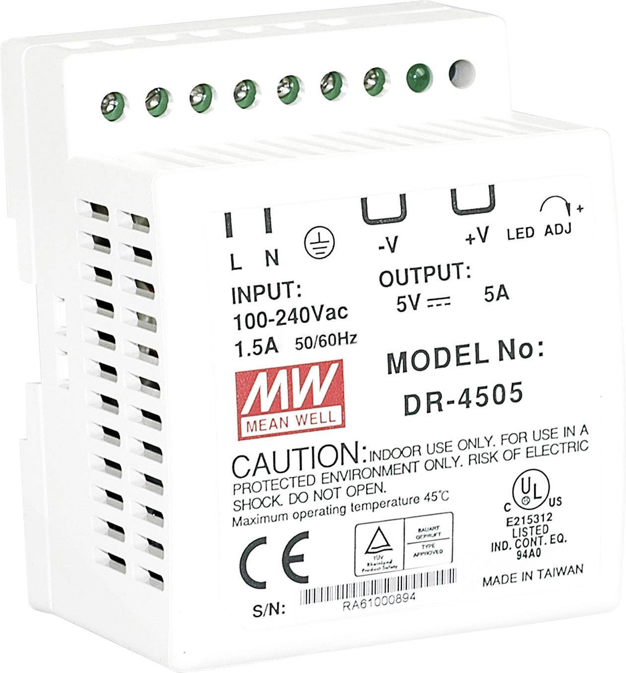 Mean Well Dr Rail Mounted Psu Din 12 Vdc 3 5 A 42 W