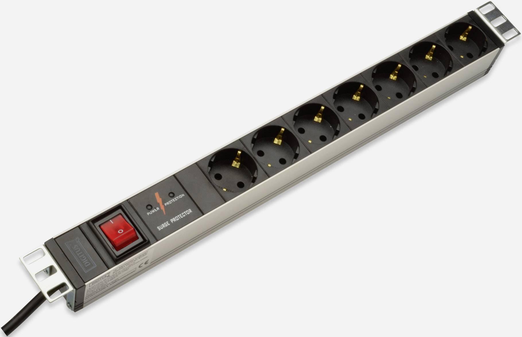 digitus dn 95407 19 inch server rack cabinet power strip 1 he pg socket black