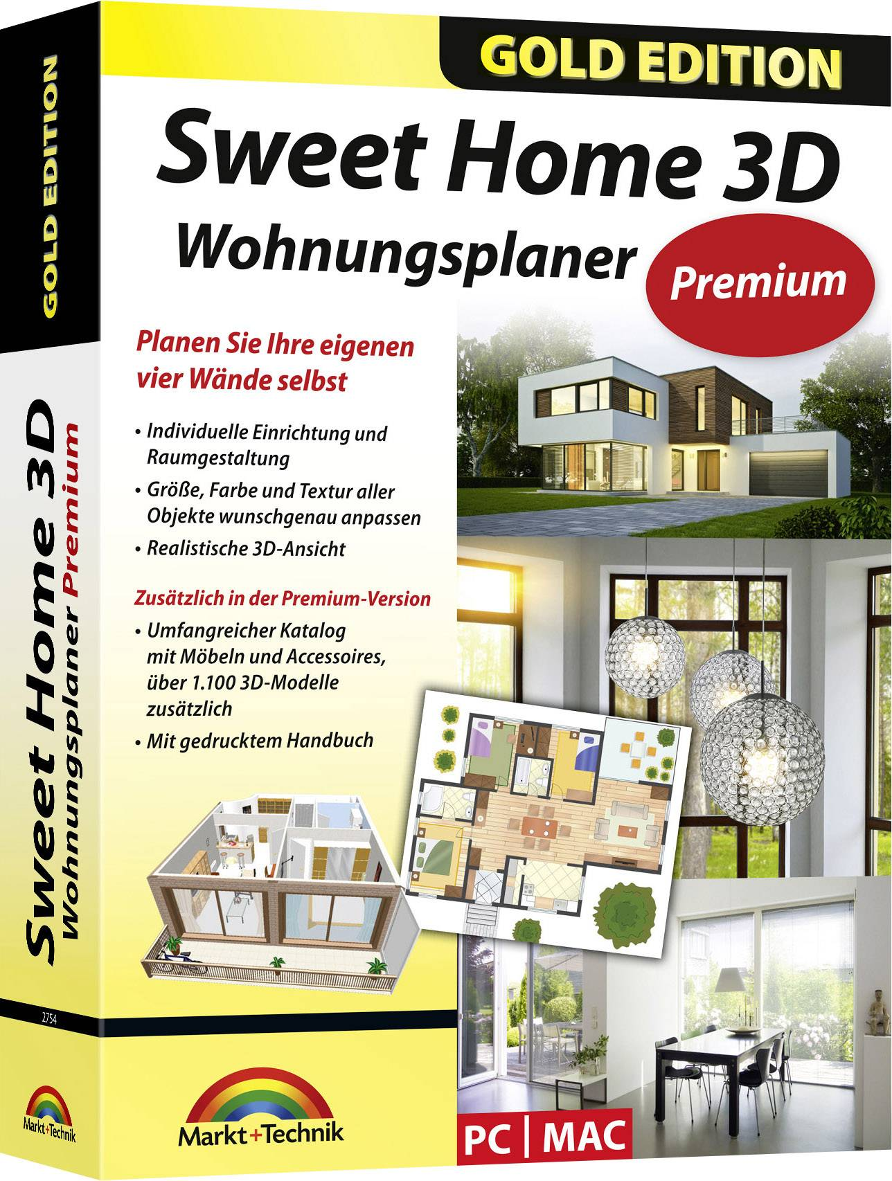 The application helps users draw house plans and arrange furniture inside the house in 2d, and then view the results in 3d. Markt Technik Sweethome 3d Premium Edition Full Version 1 Licence Windows Mac Os Planning Conrad Com