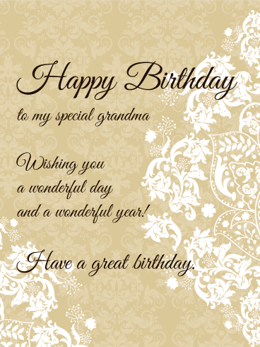 To My Special Grandma Elegant Birthday Card Birthday