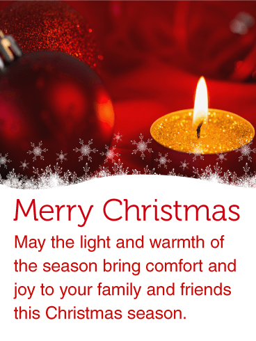 Warm Christmas Candle Light Card Birthday Amp Greeting