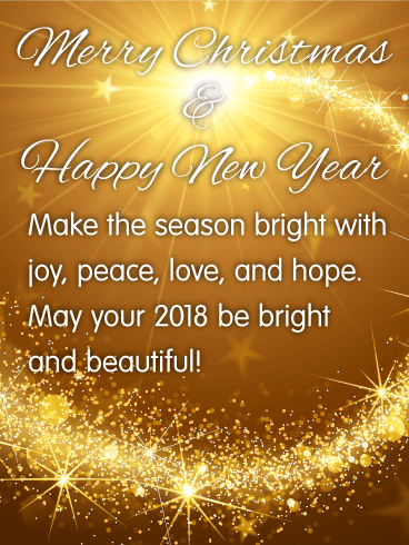 Bright   Beautiful Merry Christmas Card   Birthday   Greeting Cards     Merry Christmas   Happy New Year   Make the season bright with joy  peace   love  and hope  May your 2018 be bright and beautiful