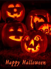 happy halloween pumpkins with lights