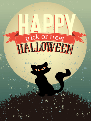 Evening Black Cat Vintage Halloween Card Birthday