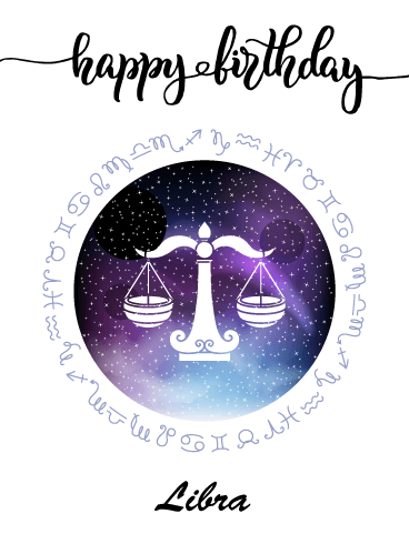 Zodiac Birthday Card for Libra (Sep 23 - Oct 22) | Birthday & Greeting Cards by Davia