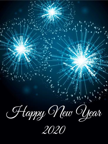 Blue New Year Fireworks Card 2020 Birthday Greeting Cards By Davia