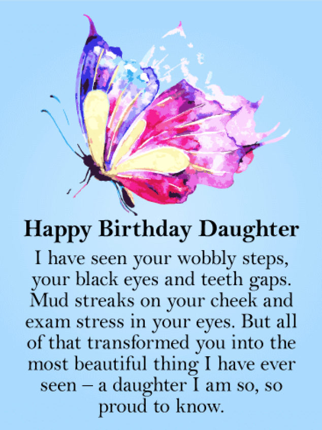 To my Beautiful Daughter - Butterfly Happy Birthday Card | Birthday &  Greeting Cards by Davia