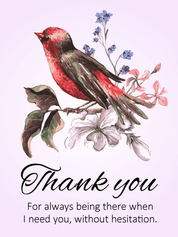 Red Little Bird Thank You Card Birthday Amp Greeting Cards