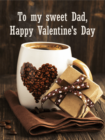 Love Coffee Happy Valentines Day Card For Father