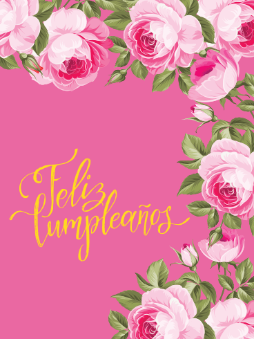If you like the image happy birthday (feliz cumpleaños) wishes, quotes in spanish and other photos and images on this site, please share with friends Beautiful Pink Rose Happy Birthday Card in Spanish - Feliz Cumpleaños | Birthday & Greeting ...