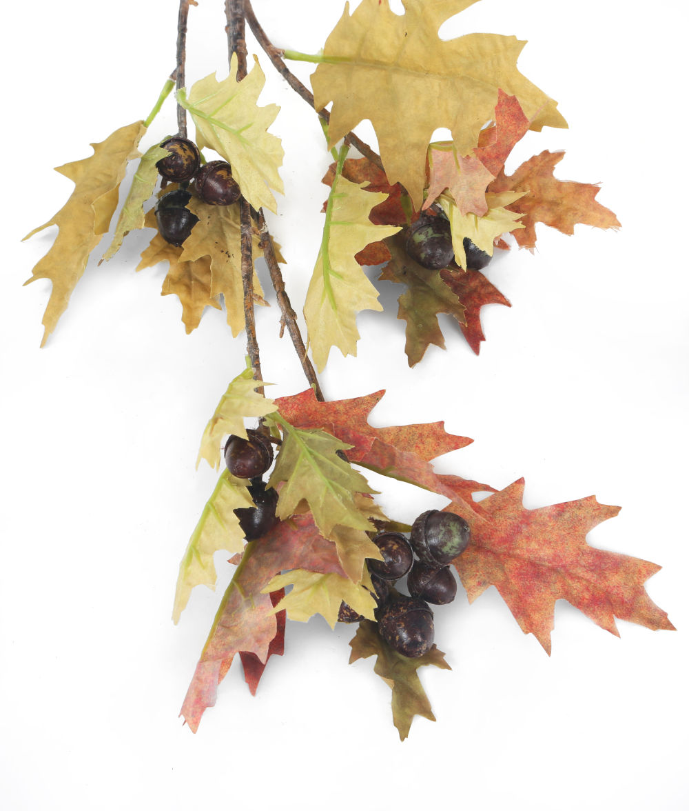 Artificial 86cm Single Stem Autumnal Oak Leaf And Acorn