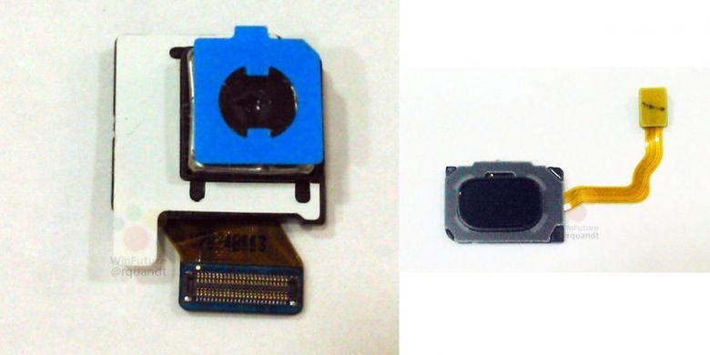 Bocoran foto komponen kamera (kiri), dan pemindai sidik jari Galaxy S9.