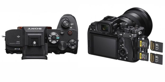 Sony A7S Mark II dari atas dan belakang.